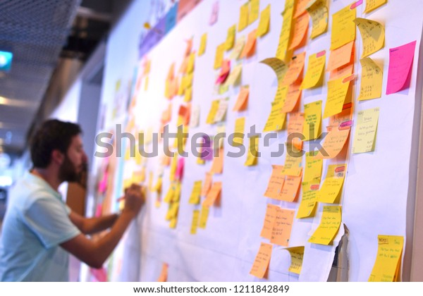 An IT worker tracking his tasks on Kanban board. Using Kanban board for task control is a kind of agile development methodology. This picture is taken on 10/15/2018 in Istanbul, Turkey