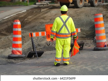 worker traffic construction paving asphalt road maintenance man job