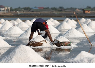 Worker try to keeping salt in the basket