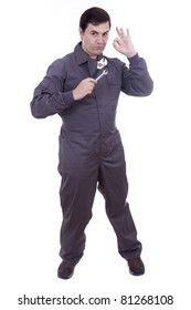 worker in uniform with tools