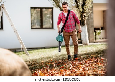 Worker using leaf blower, agricultural and industrial details of landscaping