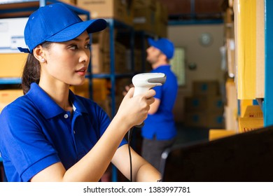 Worker using Scanner barcode equipment for check and scan barcode