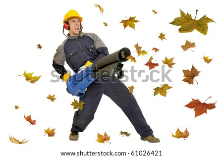 Worker with vacuum cleaner isolated in white with leaves all around