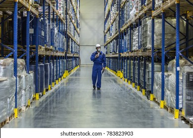 worker of warehouse with chemistry goods walking among racks