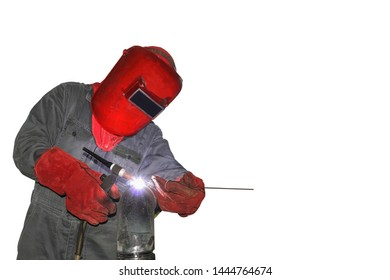 Worker Welder welding Tig Process wearing equipment protective for safety first isolated on white background.