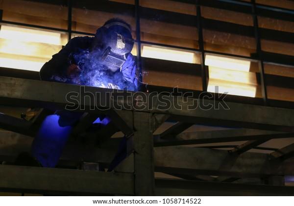 Worker Welding Aluminum Pipe Using Tig Industrial Stock Image 1058714522