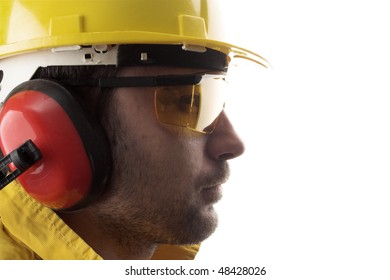 worker with yellow helmet over white