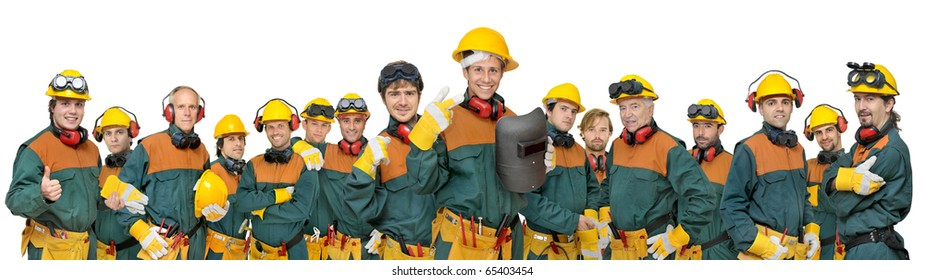Workers big team isolated in white