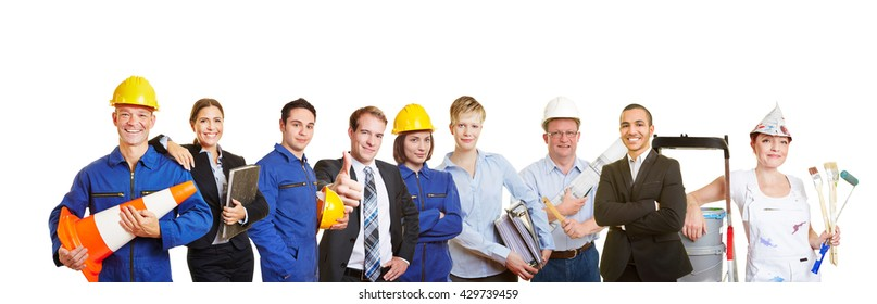 Workers and business people together as a team