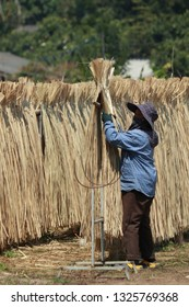 Workers are collecting bamboo wickerwork.