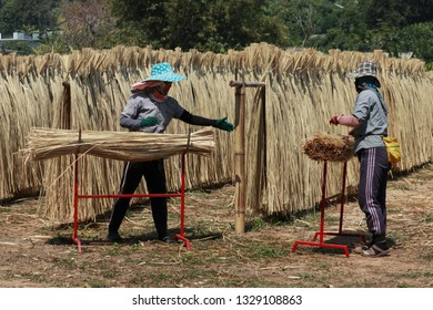 Workers are collecting bamboo wickerwork in chiang mai thailand. Feb 25,2019