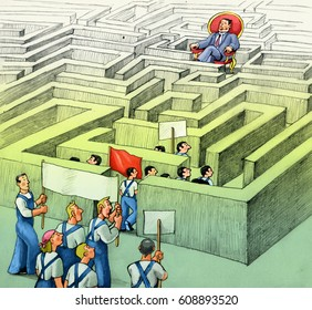 workers in demonstration they fail to reach the power that is hidden in a labyrinth