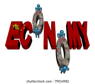 workers and Economy text with Chinese flag and yuan illustration