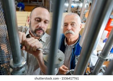 workers in factory in stockroom