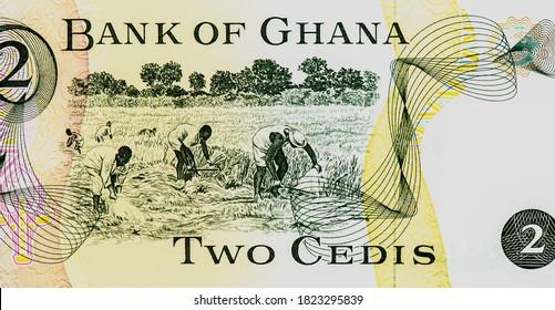 Workers in field. Portrait from Ghana 1 Cedi 1972-1978 Banknotes.