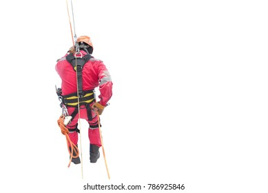 workers man red dress up high with saferty harness, safety equipment and safety belts on white background