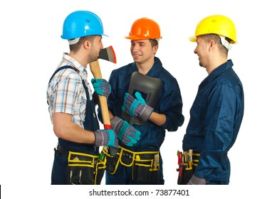 Workers men having happy conversation isolated on white background