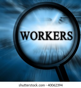 workers on a blue background with a magnifier