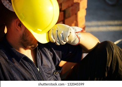 Workers on building construction site