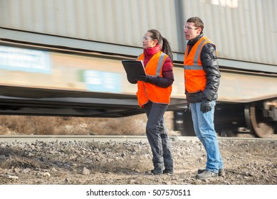 Workers at a railway