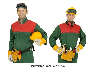 Workers team isolated in white