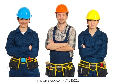 Constructor workers team standing with arms folded in a row  and smiling isolated on white background