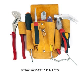 worker's tool belt on white background