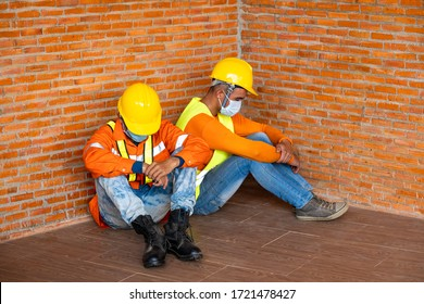 Workers wear protective face masks for safety are worrying about unemployment,Coronavirus pandemic warning of risk in real estate financing or investing in asset valuable and quality concept.
