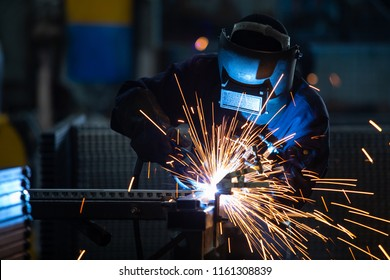 Workers wearing industrial uniforms and Welded Iron Mask at Steel welding plants, industrial safety first concept.