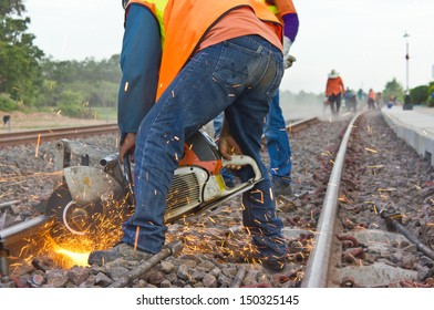 Workers were cutting tracks for maintenance.