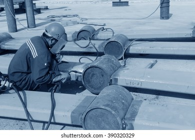 Workers work in the construction site