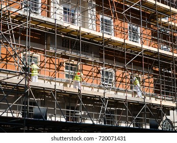 Workers are working on renovation site building in London, UK. 14 September 2017.