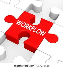 Workflow Puzzle Showing Process Flow Or Procedure