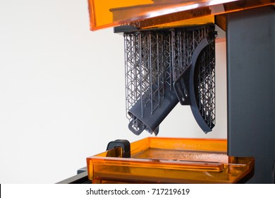 Working 3d printer close up. Automation technology 3D printing of modern swimming mask.