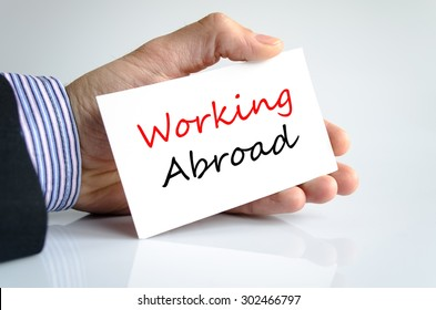 Working abroad text concept isolated over white background