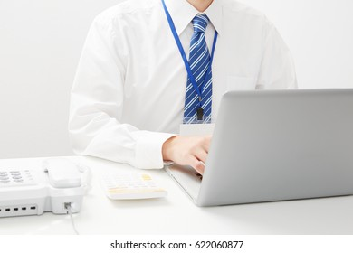 working Asian businessman, no face