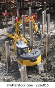 Working aspect at the urban construction site