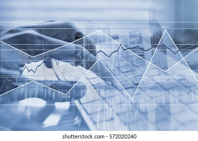 working with big data, computer calculations concept, business financial analysis
