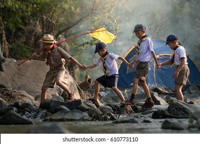 Working as a boy scout boy team