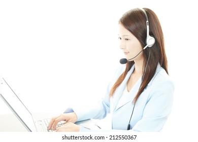 Working call center operator