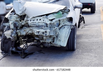 Working car repair inspection at damaged of accident. Claim the insurance company. image style blur focus.