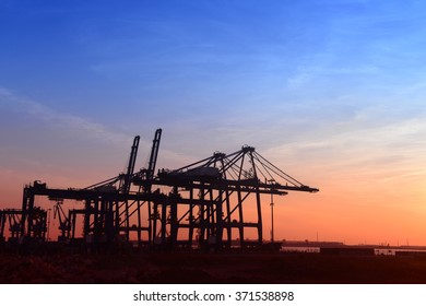 Working cranes, in the evening