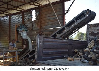 Working cutting wood on wood cutting machine.Marmaris.Turkey.1.11.18
