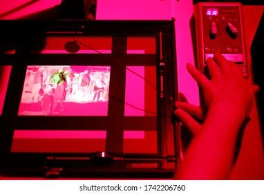 Working in Darkroom Red Safelight Photo of Beijing China