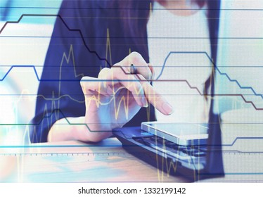 Working with data computer diagrams and trading graph analysis, business financial concept.