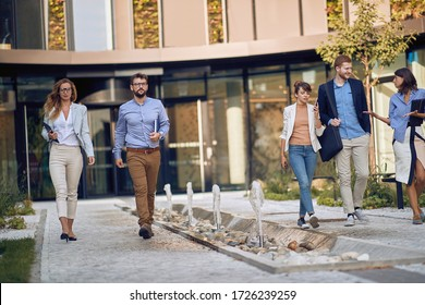 Working day.Young Business people going to work.