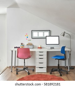 Working desk, interior of the loft and chairs with frame and interior design
