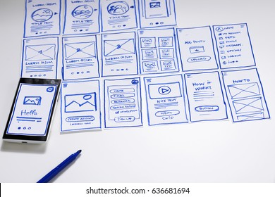 Working desk with sketches of screens for mobile application. Developing wireframe for mobile user experience, UI/UX