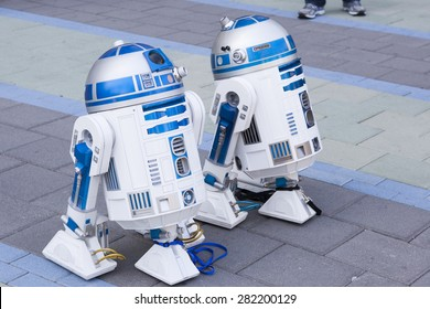 Working droids - replicas of R2D2 at the Star Wars Celebration in Anaheim, California, April 2015.