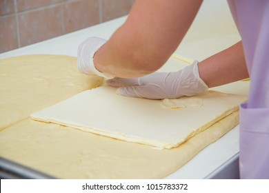 Working with a fresh pastry cookie